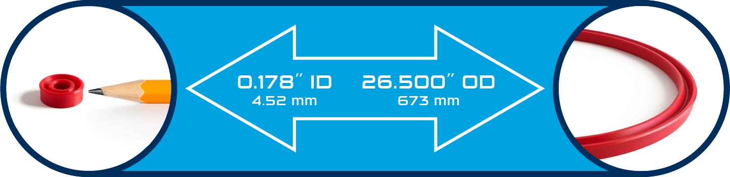 Size Capabilities from 0.178″ ID (4.52 mm) to 26.500″ OD (673mm)